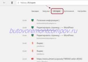 История просмотра Яндекс браузер